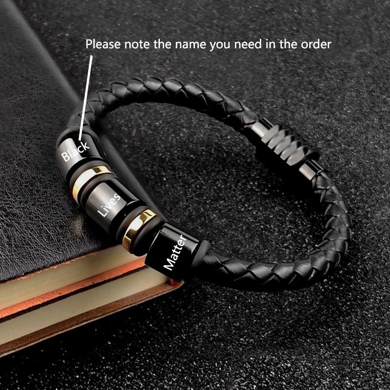 MingAo Custom Engraved Name Bracelet Single Leather Beads Braclet For Men Women Punk Black Gold Stainless Steel Beaded Bracelets