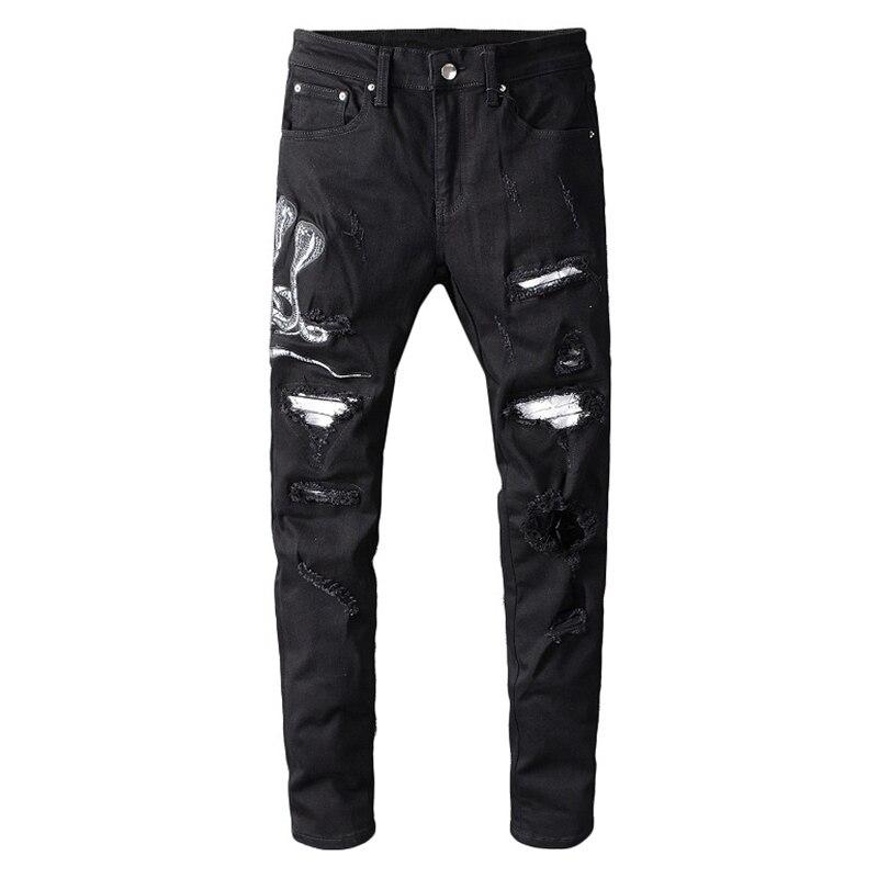 Sokotoo Men's Snake Embroidered Black Ripped Jeans Slim Skinny Holes Patchwork Stretch Denim Pants