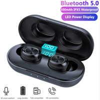 TWS Bluetooth наушники Streo беспроводные наушники со светодиодным дисплеем с объемным стереозвуком IPX5 Водонепроницаемый Whit зарядная коробка