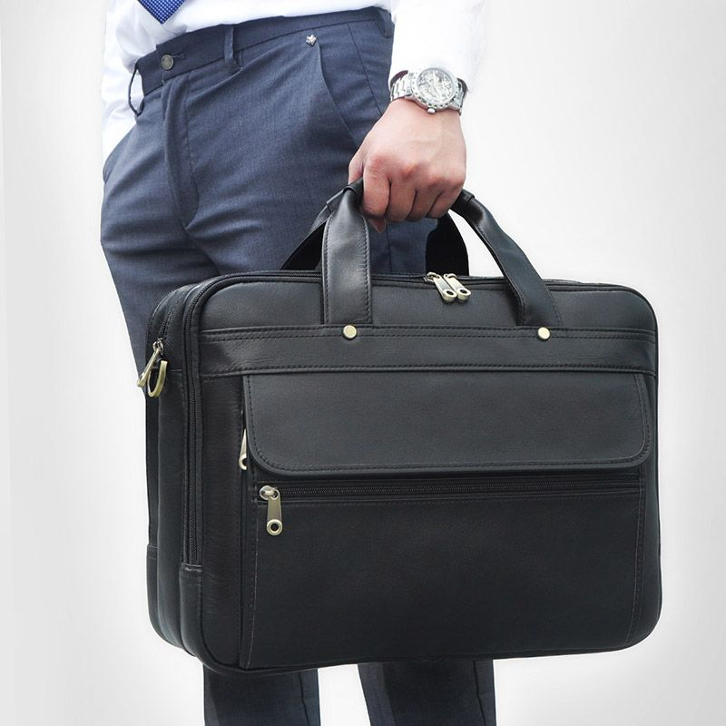 Nesitu Highend Black Coffee Grey Genuine Leather 15.6'' Laptop Office Men's Briefcase Business Messenger Bags Portfolio M7146