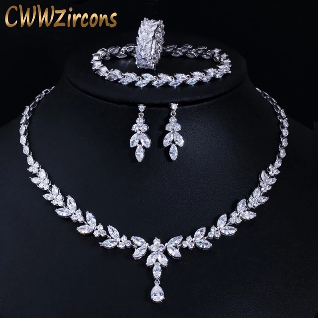 CWWZircons 4 Uds brillante cúbico pendientes y collar con circones anillo y pulsera joyería nupcial de la boda establece vestido accesorios T344 1