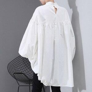 Image 3 - [EAM] Women Back Long Drawstring Big Size Blouse New Satnd Collar Long Sleeve Loose Fit Shirt Fashion Spring Autumn 2020 1N242
