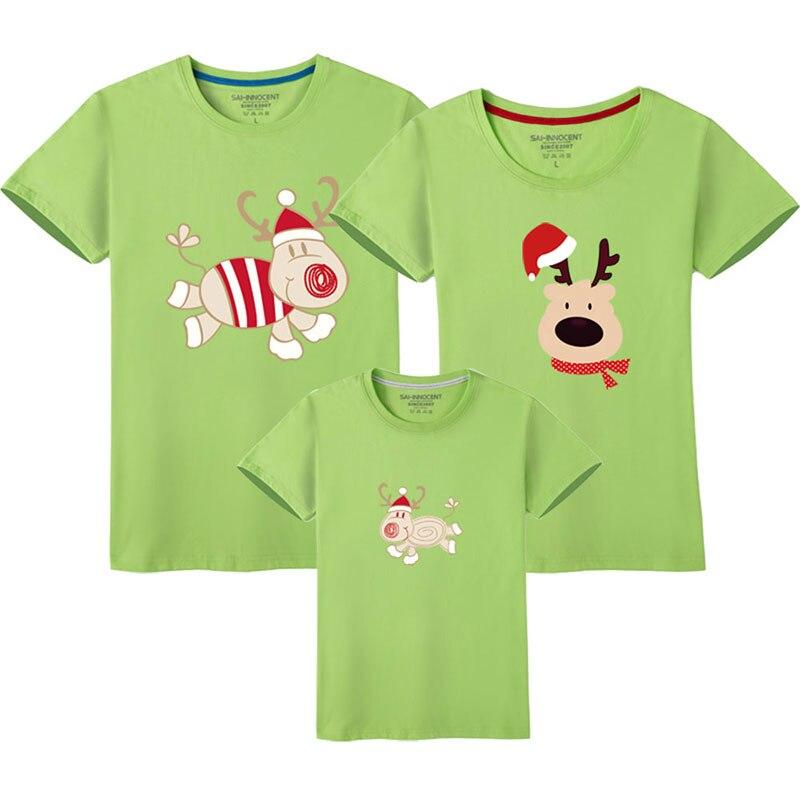 Семейный костюм для папы, мамы и ребенка; одинаковые рождественские комплекты для семьи; футболка для мамы и дочки; одежда с короткими рукавами для папы и сына - Цвет: Green