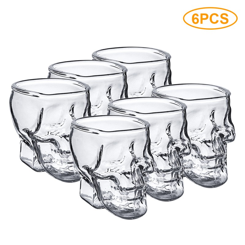 1/2/6Pcs Skull Cup Shot Glass Transparent Cup Crystal Skull Head Glass Cup for Whiskey Wine Vodka Bar Club Beer Wine Glass