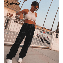 Rockmore-pantalones vaqueros de cintura alta para mujer, pantalón vaquero de pierna ancha, ropa de calle para novio, Pantalones rectos de bolsillo Harajuku 2020