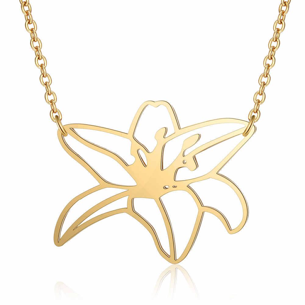 100% prawdziwe ze stali nierdzewnej Hollow duży Plumeria naszyjnik kwiatowy wyjątkowa biżuteria naszyjnik moda wisiorek naszyjniki