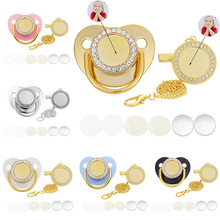 10 Sets Blank Baby Pacifier And Clips Custom Personalized Golden Bling Silicone Infant Nipple Sublimation Dummy Newborn Pacifier