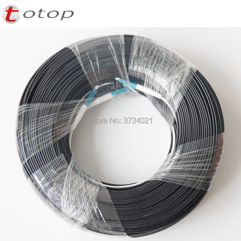 150M Outdoor LC UPC Duplex FTTH Drop Patch Cable LC Duplex G657A Fiber Optic Patch Cord FTTH Fiber Optic Jumper Cable