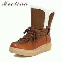 Ladies Shoes Short-Boots Platform Meotina Yellow Large-Size Winter Women Flat 43 Lace-Up