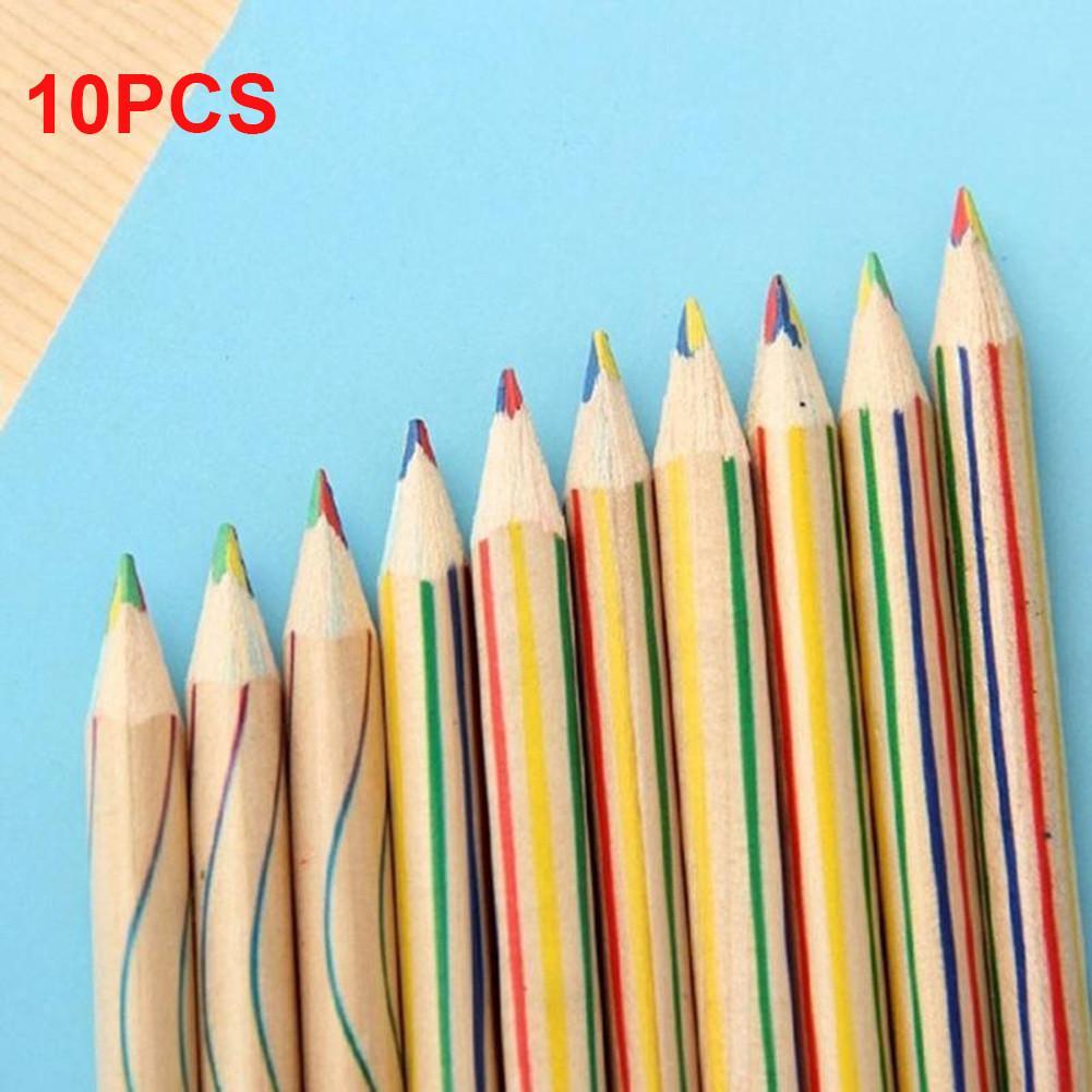 10PCS Rainbow Color Pencil Four-Color Lead Wooden Colored Pencil Multicolor Students DIY Graffiti Pencil
