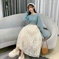 Женская кружевная Юбка-миди, модная Милая элегантная офисная юбка-трапеция в Корейском стиле, женское мягкое платье для весны и зимы 2021