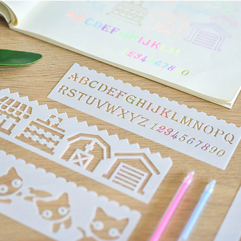 8pcs/set Multi-function Hollow Lace Ruler Drawing Board Mold Painting Template Decoration Tool