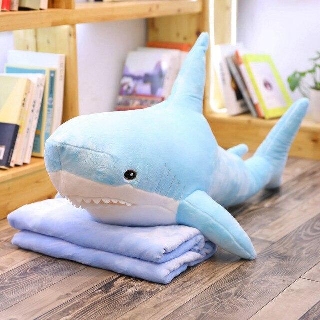 Miękkie Giant Shark poduszki pluszowe zabawki wypchane zwierzę lalki rosja pluszowe zabawki Shark ryby poduszka na prezent dla dzieci 60/80/100/140cm