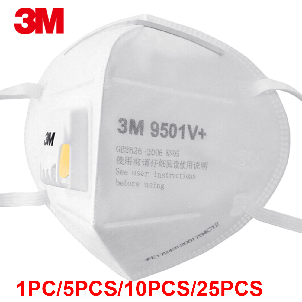 1PC-25PCS 3M 9501V+ KN95 Mask Particulate Respirator Protective Disposable Face Masks With Valve PM2.5 Haze Dustproof Mouth Mask