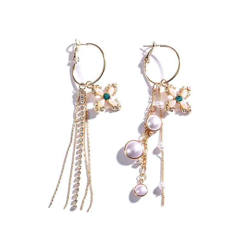 European and American fashion personality pearl cross Tassel Vintage Earrings Prevent Allergy High Quality elegantTrend ear nail
