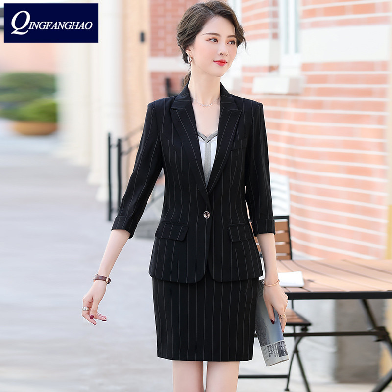 2020 new striped office suit ladies middle-sleeved blazer fashion temperament hotel manager work clothes white-collar