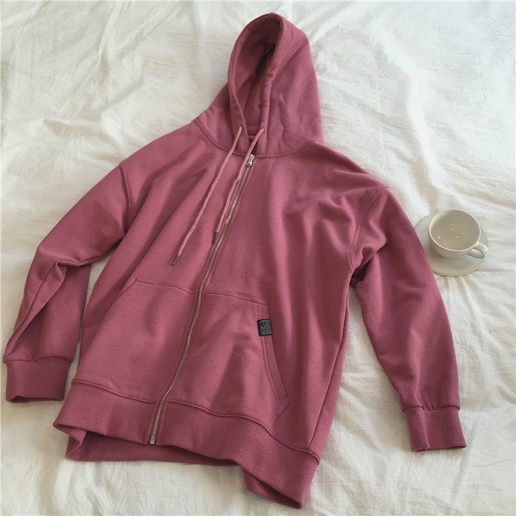 H6ac0f2257b1642cb9ee17858fbaecd28L Harajuku with hat hoodies women zipper kangaroo pocket casual loose solid color sweatshirt female 2020 fashion new female s
