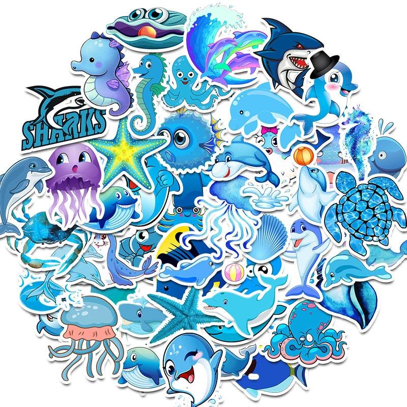 50pcs/Pack Cute Marine Animal Shark Graffiti Stickers Guitar Suitcase Skateboard Girls Children Funny Sticker Kids Classic Toy