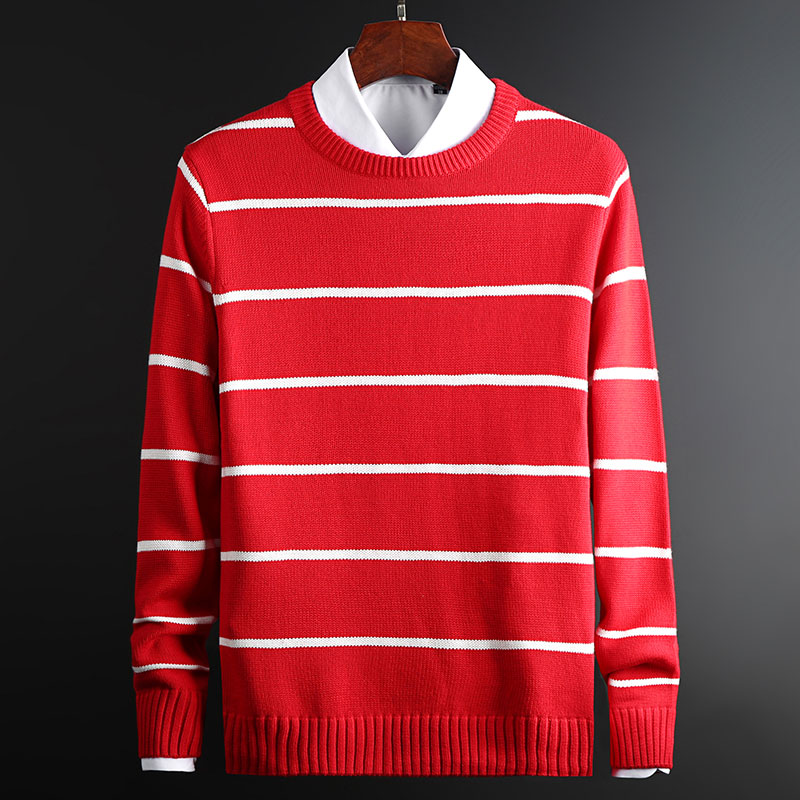 2019 New Fashion Brand Sweater Men Pullover Striped Slim Fit Jumpers Knitwear O-Neck Winter Korean Style  Casual Men Clothes