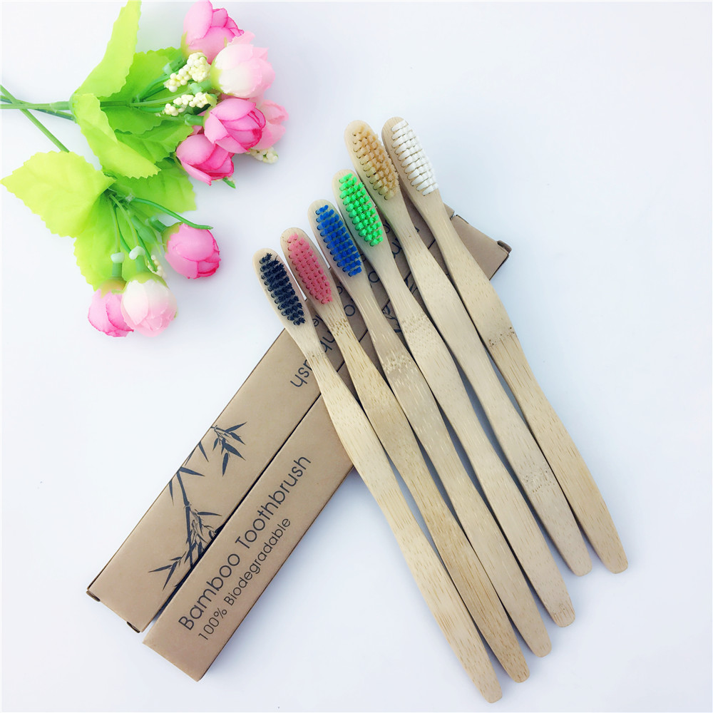 Bamboo Family Home Travel Safety Manual Biodegradable Soft Oral Hygiene Anti Bacterial Kids Toothbrush Eco Friendly