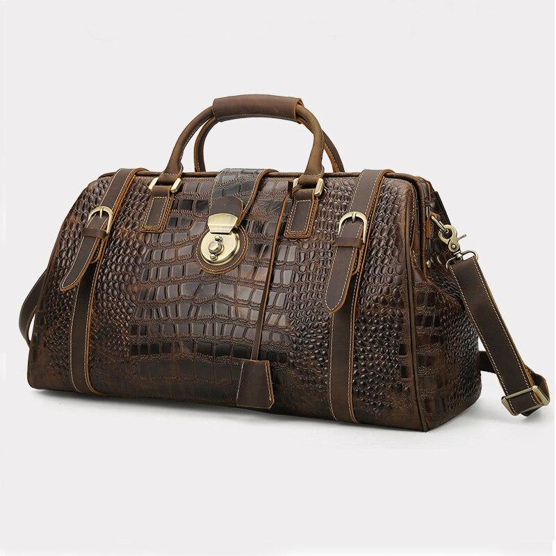 Bagaj ve Çantalar'ten Seyahat Çantaları'de Vintage Çılgın At Hakiki Deri Erkek Seyahat Çantası Büyük Kapasiteli Timsah Seyahat silindir çanta bagaj çantası üzerinde taşımak gecede'da  Grup 1