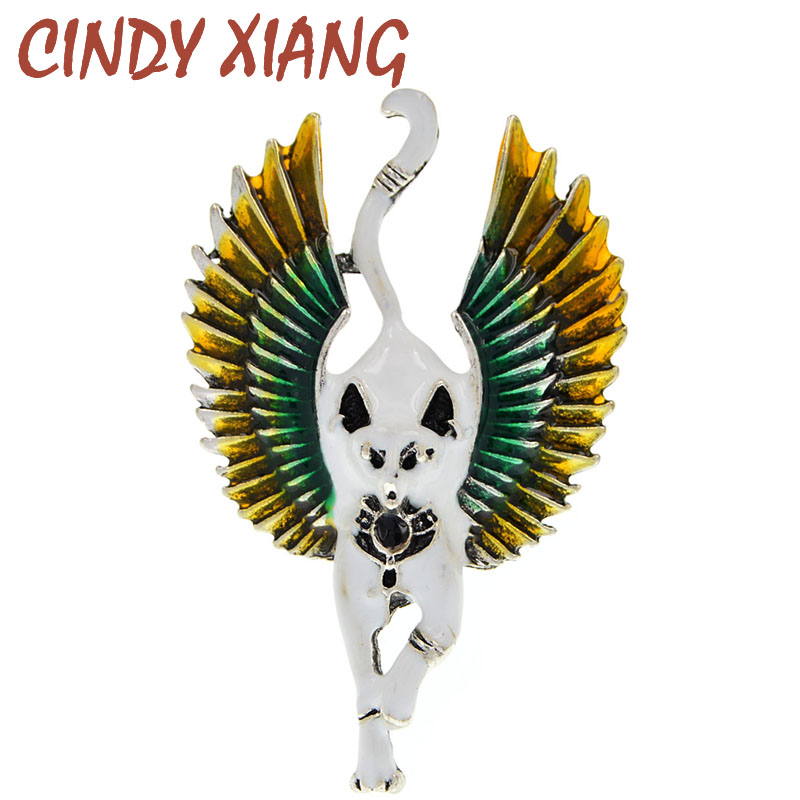 CINDY XIANG New Flying Angel Cat With Wings Brooches Enamel Ferocious Animal Brooch Pins Egypt Jewelry Accessories High Quality