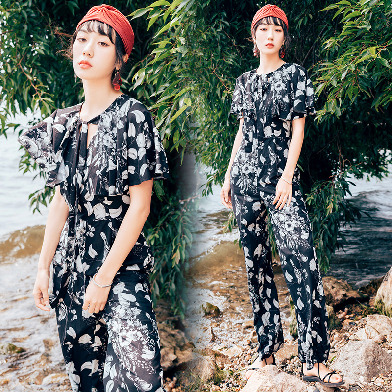 Onesie Women's Summer 2019 New Style Floral-Print Thailand Romper High-waisted Loose Pants Slimming Onesie WOMEN'S Dress