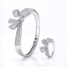 VERY GIRL Fashion Womens Brilliant Bow Knot Bracelet & Rings Gold Plating Micro Pave Cubic Zircon Jewelry Set 2019