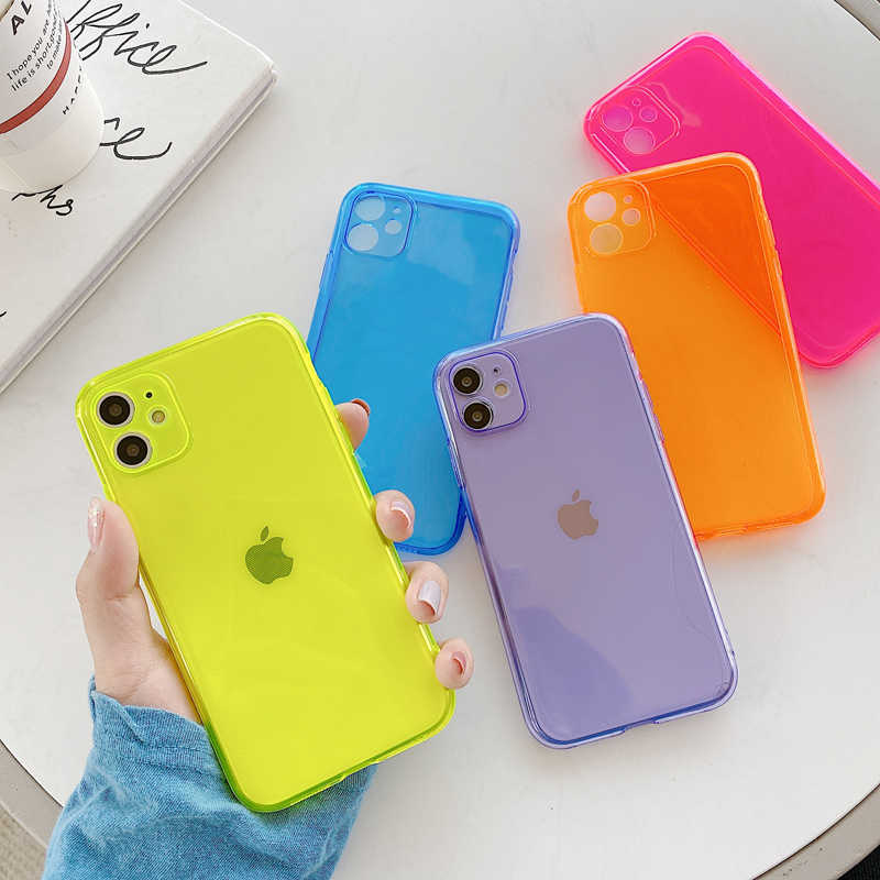 Neon Fluorescente di Colore Solido Cassa Del Telefono Per il iPhone 11 Pro Max XR XS Max 6 6S 7 8 Più X Sereno Full Body Molle Del Telefono di TPU Della Copertura Posteriore