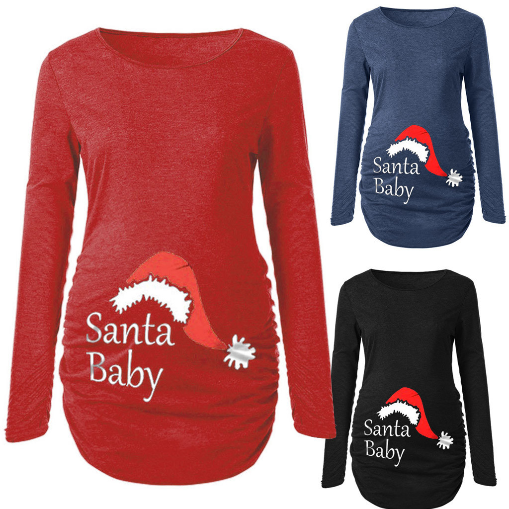 2019 Popular Women's Print Christmas Side Ruched Long Sleeve Maternity Top Pregnancy Clothes