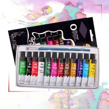 Drawing-Pigment Brush-Set Oil-Painting Art-Supplies Artist 12-Colors with for Beginner