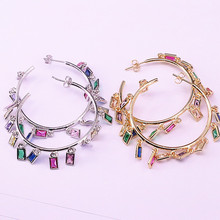 2Pair Gold/Silver Color Circle Shape Big Jewelry Earrings Fashion Multicolor CZ Micro Pave Charms Geometric Earring For Women