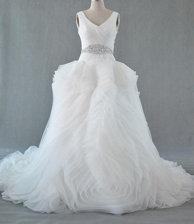 Luxury Double-Shoulders V-neck Real Pictures Wedding Dress Bridal Gown Vestido De Novia QQ0098