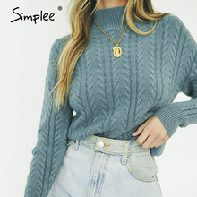 Simplee oネックニット女性プルオーバーセーター秋冬パフスリーブ女性のセーター固体グリーンレディースレジャージャンパー 2020