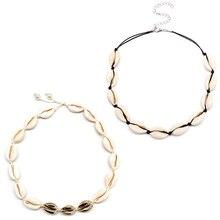 2 Pcs/ Set Beach Natural Shell Rope Chain Necklace Fashion Bohemian Handmade Clavice Choker Women