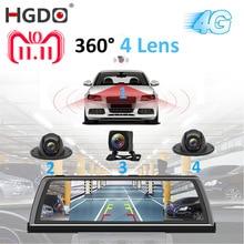 """HGDO H100 4 عدسة ADAS جهاز تسجيل فيديو رقمي للسيارات كاميرا مسجل فيديو مرآة 4G 10 """"وسائل الإعلام مرآة الرؤية الخلفية 4 الأساسية أندرويد داش كام FHD 1080P لتحديد المواقع"""