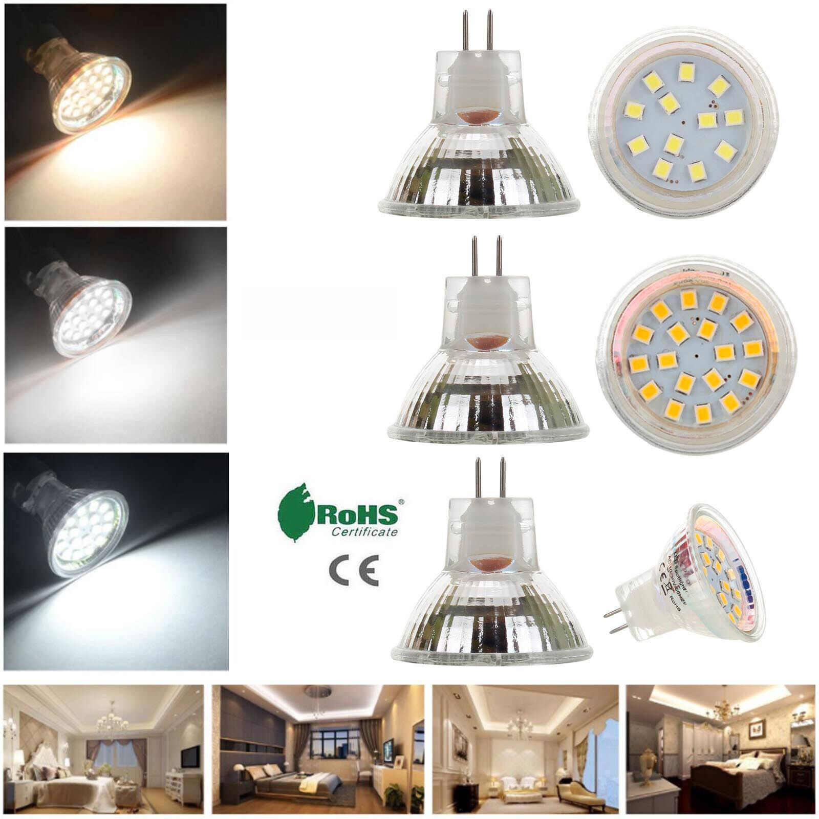 35mm LED Bulb MR11 GU4 2W 3W 120LM 150LM LED Bulb  2835 SMD Warm Cold Neutral White AC/DC12V-24V Lamp Replace Halogen Lighting