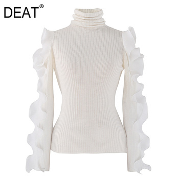 [DEAT] 2021 Spring Autumn New  Fashion Tide Turtleneck Ruffles Long Sleeve Solid Color Knitting Pullover Sweater Women 13A473 [eam] oversized knitting sweater loose fit turtleneck long sleeve women pullovers new fashion tide spring autumn 2020 19a a43