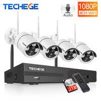 Techege 4CH Drahtlose CCTV System H.265 Audio Record 2MP 4CH NVR Kit Wasserdichte Außen Motion Erkennung Video Überwachung Kit
