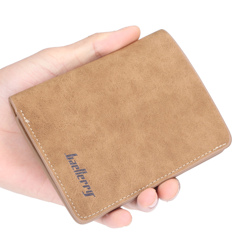 New Men Wallet Leather ID Credit Card Holder Clutch Coin Purse Luxury Brand Wallet Frosted Short Wallets Men Wallet Coin Pocket