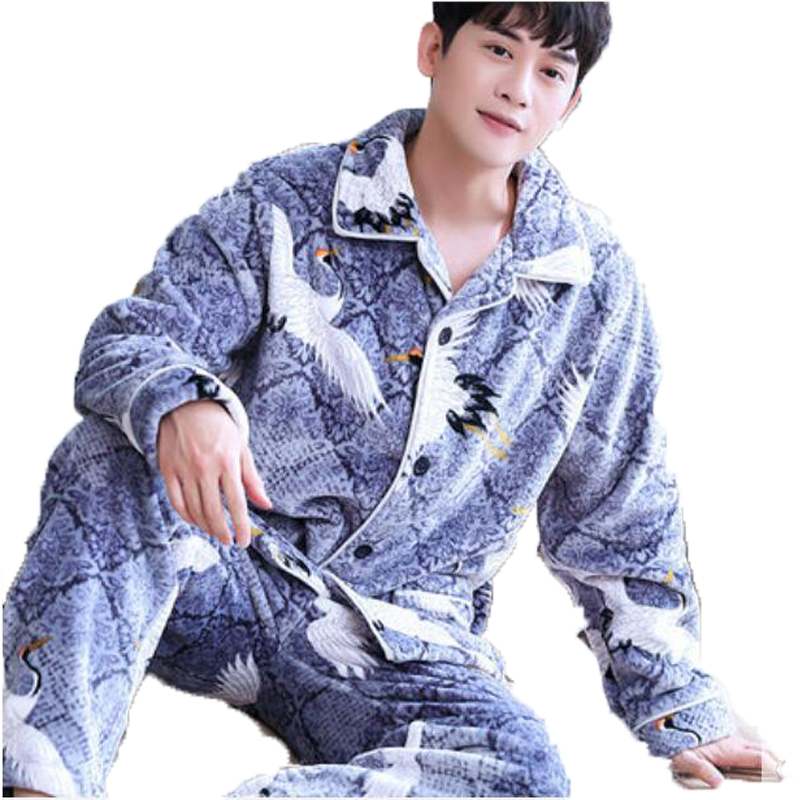 Winter Men Pajama Sets Coral Fleece Thick Warm Sleepwear Suit Flannel Long Sleeve Full Trouse 2 Piece Couple Pajamas Home Wear