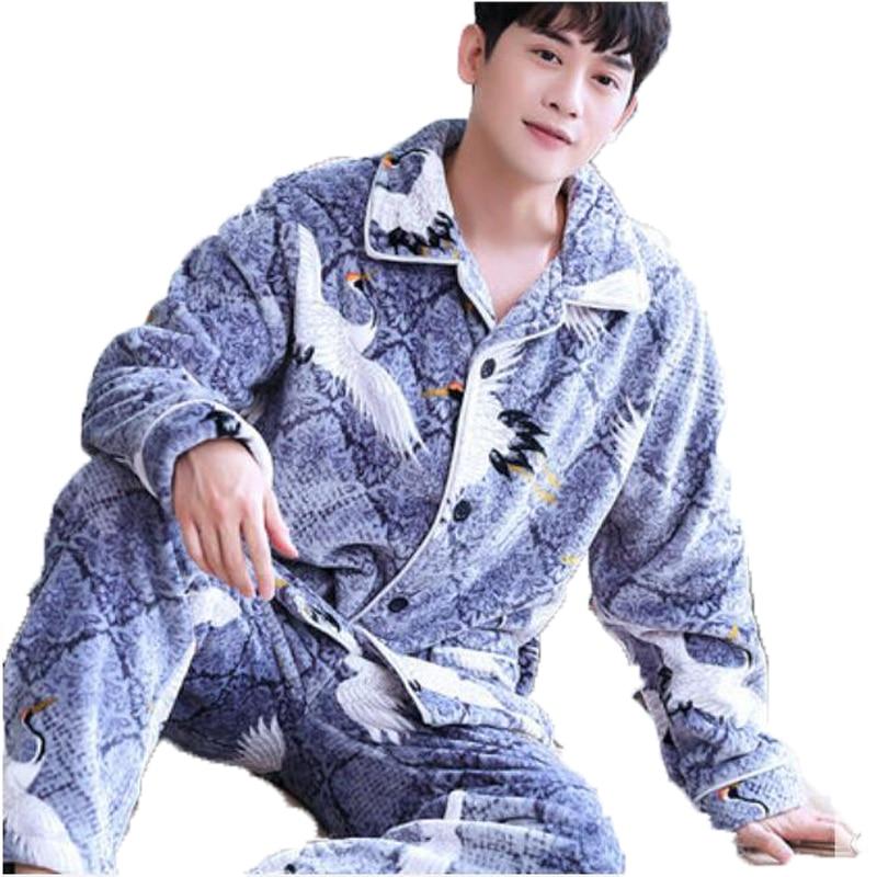 Winter Men Pajama Sets Coral Fleece Thick Warm Sleepwear Suit Flannel Long Sleeve Full Trouse 2 Piece Couple Pajamas Home Wear