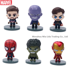 Hasbro Avengers Q version 6pcs/set Thanos Spider-Man Iron Man Captain America Hulk Doctor Strange Doll Model toys