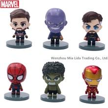 Hasbro Avengers Q version 6pcs/set Thanos Spider-Man Iron Man Captain America Hulk Doctor Strange Doll Model toys