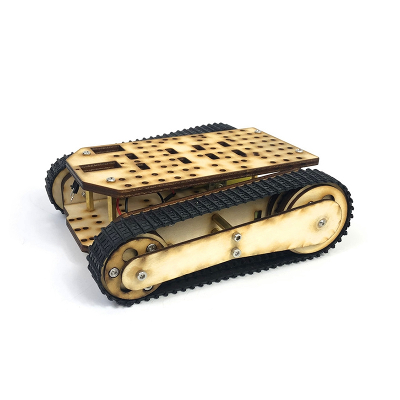 Wooden Tracked Tank Chassis Rc Tank Smart Robot Tank Car Chassis Kit Track Crawler Rc Tank Smart Robot Tank Car Chassis Kit