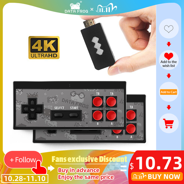 데이터 개구리 4K HDMI 비디오 게임 콘솔 568 클래식 게임 내장 미니 레트로 콘솔 무선 컨트롤러 HDMI 출력 듀얼 플레이어