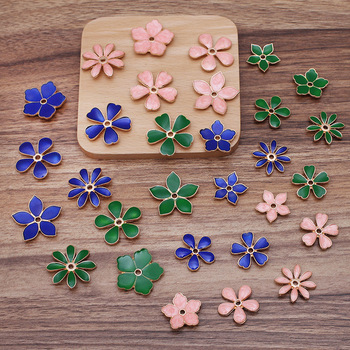 10pcs Metal Enamel Flower Beads Caps Blue Green Pink Filigree Flower Base Charms Pendants for Jewelry Making Components DIY wholesale 15pcs alloy enamel metal bee charms for jewelry pendants diy earrings necklace making accessory