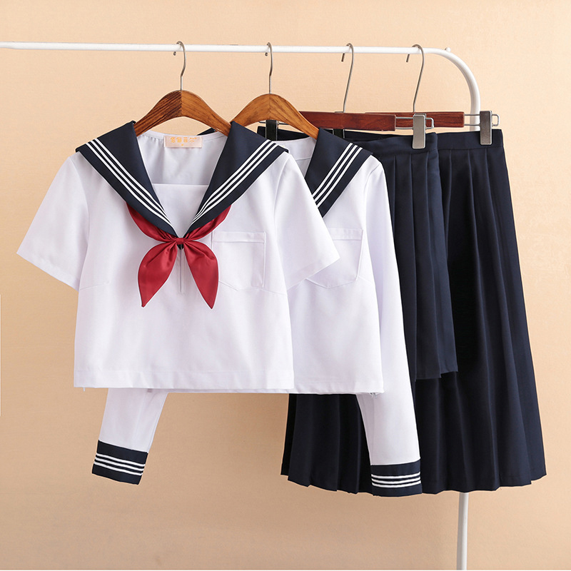 Formal School Uniform For Girls Short Long Sleeved Shirt Pleated Skirt Suits Chorus Stage Performance Student Uniforms