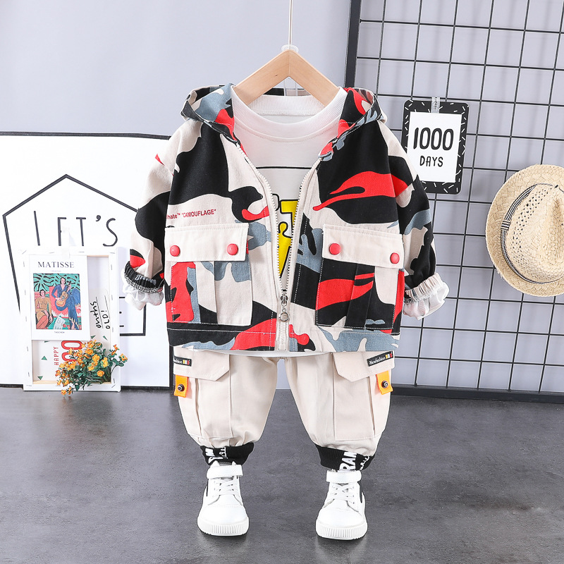 HYLKIDHUOSE 2020 Spring Boys Clothing Sets Camouflage Coats T Shirt Pants 3 Piece Baby Infant Clothes Children Casual Costume