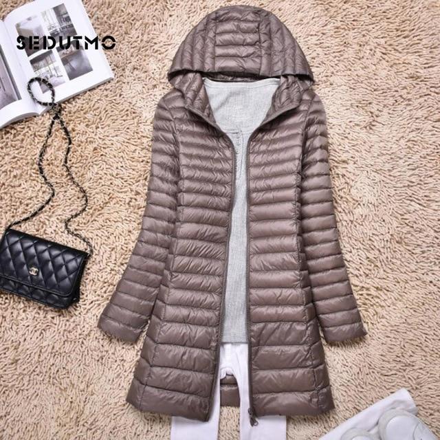 SEDUTMO Winter Duck Down Jackets Women Ultra Light Long Down Coat Spring Hoodie Puffer Jacket Slim Parkas ED876 1